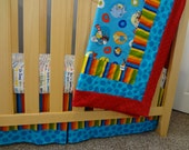 Picture Frame Blanket and Crib Sheet in Dr. Seuss Fabrics by Robert Kaufman. Made to Order Crib Bedding.