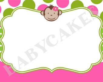 Mod Monkey/Thank You Card/thank you note/custom/printable/DIY