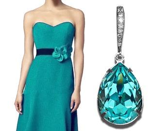 Light Turquoise Crystal Earrings Blue Teal Earrings Bridesmaids Swarovski Teardrop Rhinestone Silver Earrings Bridesmaid Malibu Jewelry