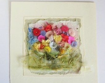 Handmade Hand Embroidered Picture 'Summer Border'