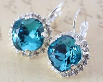 Teal Bridesmaid Earrings Set of 7 Pairs Teal Wedding Indicolite Bridesmaids Jewelry Silver Crystal Earrings