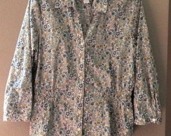flower print Cotton Blouse, blue White and Yellow, Womens size 12