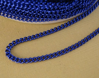 Royal Blue Electroplated  Twist  Curbe Chain Colored Chain-15 ft.