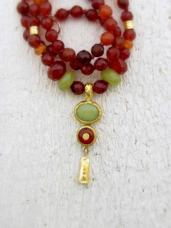 carnelian gold necklace 24k solid gold carnelian