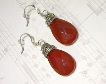 Hand Wired Earrings, Red, Brick, Quartz, Earrings, Silver, Teardrop, Terra Cotta, Russet,   Sienna, Pierced, Dangle, Hook, Jennifer Jones