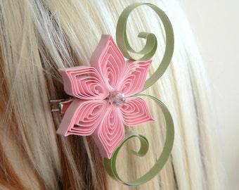 Pink and Sage Wedding Hair Accessory, Bridesmaid Gift, Blush Pink Wedding, Sage Wedding