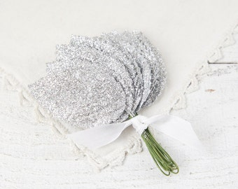 Glitter Leaves - Metallic Silver Floral Craft Leaf, 1 Bunch - 12 Leaves