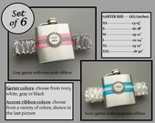 Six (6) Flask Garters: Bridesmaids Gift Set - Choose Your Colors - Wedding Party / Bachelorette Party