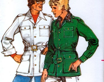 Butterick 5353 Vintage 70s Teen Boys' Jacket and Belt Sewing Pattern - Uncut - Size 14, 16 or 18
