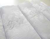 12 French Vintage Damask Napkins of Finest Quality with Monogrammed Initials 'D W'