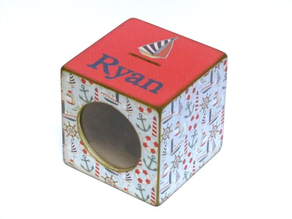 Items similar to wood coin bank box childs piggy bank with window nautical personalized on - Nautical piggy banks ...