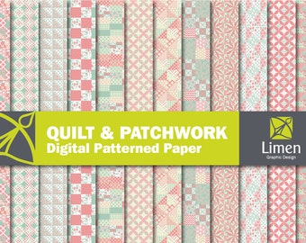 Quilt Digital Paper Pack -  Patchwork Digital Scrapbooking Paper with Personal and Commercial License