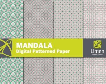 Mandala Digital Paper Pack, Digital Mandala Paper, Printable Mandala, Mandala Scrapbook Paper, Geometric Paper, Flower Paper, Pink Green