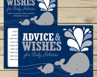 Gray Whale Baby Shower Wishes for Baby Boy Printable Card - Navy Blue Advice For Mom To Be Card - Whale Baby Shower Printable