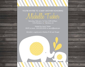 yellow elephant baby shower invitation printable - baby elephant baby shower - yellow and grey baby shower - gender neutral baby shower