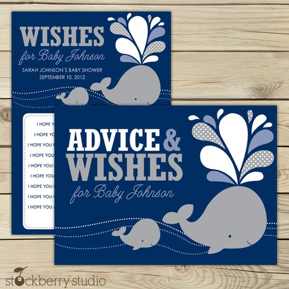 Gray Whale Baby Shower Wishes For Baby Boy Printable Card