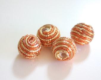 Sparkletastic Rusty Orange - Gold and Rusty Orange Zardosi Ball Beads (1 pair - 2 beads)
