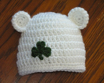Baby Irish Bear hat with shamrock for newborn up to 18 months - St Patrick's Day Notre Dame baby