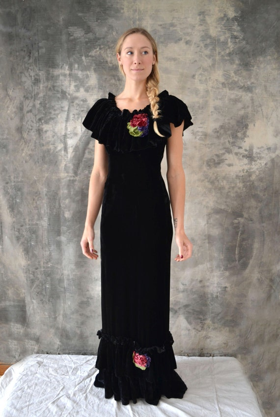 1930s Black Velvet Bias Cut Dress