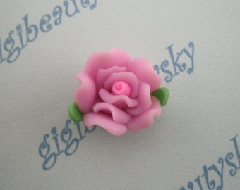 Fuchsia porcelain flower cabochon  2pcs 15mm---RTHX73B