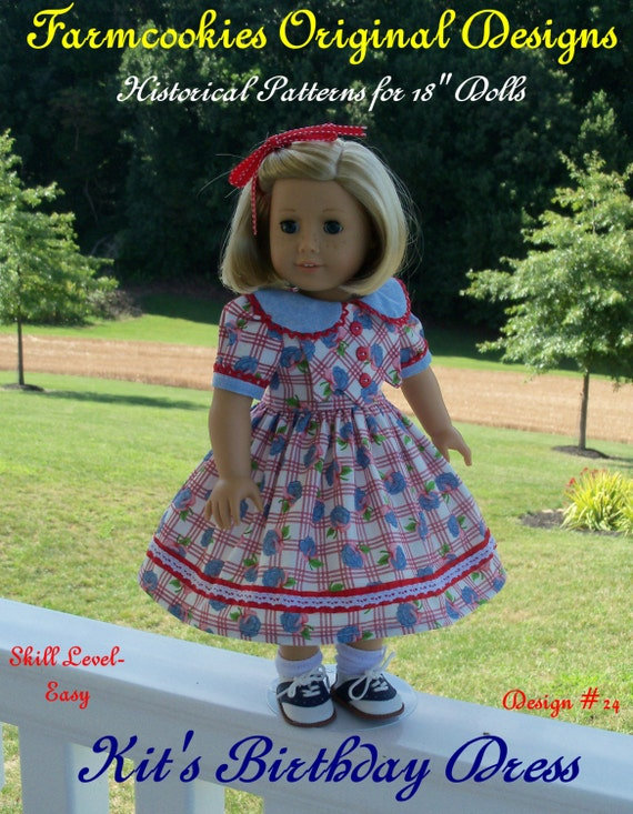 """PRINTED Pattern / Kit's 1930's Birthday Dress /  Sewing Pattern for American Girl Kit, Ruthie, Molly or other 18"""" Dolls"""