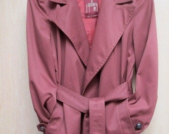 SALE J Gallery oxblood red trench coat size small