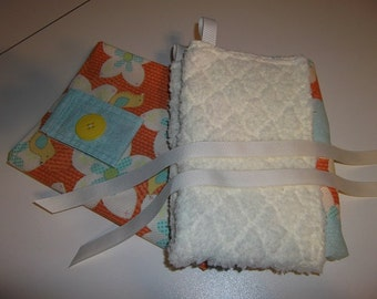 Infant Accessories - Infant Carrier Car Seat Cover and Blanket Set - Orange/Yellow Birds and Flowers
