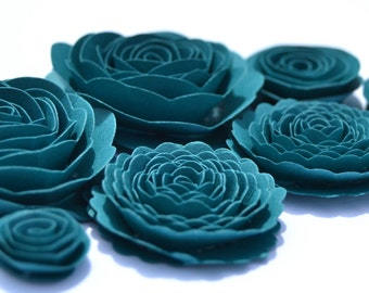 Dark Teal Handmade Spiral Rose Paper Flowers