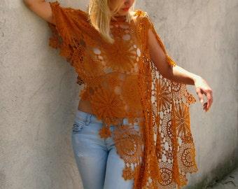 dark orange Women Accessories Crochet shawl