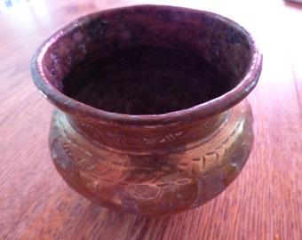 Hand Made Vintage, Heavy Solid Brass Vase or Planter or Pen/Brush Holder ect.