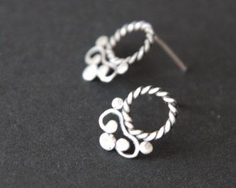 Stud silver 925 Filigree  earrings