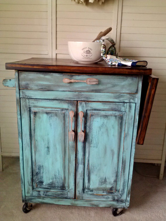 Kitchen Island Rolling Teal Distressed Shabby by kuntrytreasures