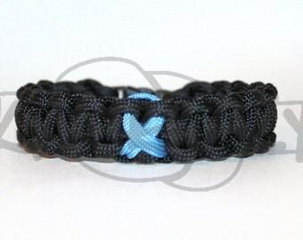 Trisomy 18 Scleroderma Prostate Cancer Light Blue Awareness Ribbon 550 Paracord Survival Strap Bracelet Anklet w Buckle