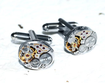 ZENITH Men Steampunk Cufflinks - HIGH END Luxury Swiss Silver Vintage Watch Movement Men Steampunk Cufflinks Cuff Links Men Wedding Gift