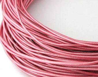LRD0110060) 1.0mm Mystique Pink Genuine Metallic Round Leather Cord.  1 meter, 3 meters, 5 meters, 10 meters, 19.1 meters.  Length Available