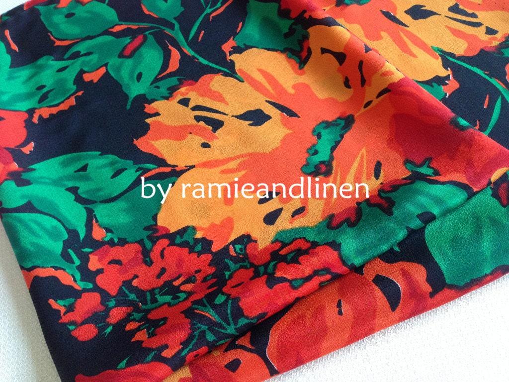 Silk Fabric Tropical Flowers Print Silk Crepe De Chine Pure