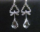 Victorian Dragonfly Earrings, Clear Swarovski Earrings, Antiqued Silver Dragonfly Earrings, Victorian Earrings, Art Nouveau Crystal Earrings