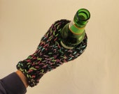 Knit Cozy Drink Mitt for Women/Womens in Black with Bright Rainbow Accent for Beer Bottles/Cans Mens/Womens. VeryCoolCrafts. Ready To Ship