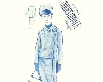 Vintage 1960s Suit Pattern With Label Modes Royale E2005 Bust 34 Size 14 Asymmetrical