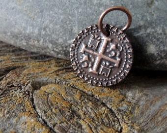 Antique Coin Replica, Copper Coin Replica, Handmade Artisan Copper, Artisan Jewelry, Spanish Cobb Coin, Rustic