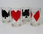 4 Vintage Libbey Gambling Poker Card Suit Heart/Spade/Club/Diamond Tumblers--FREE SHIPPING