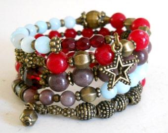 SALE red memory wire bracelet bohemian memory wire bracelet cuff bracelet boho wrap around bracelet bohemian bracelet