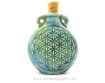 Flower of Life Ceramic Bottle Pendant, Raku Clay Vessel, 1pc