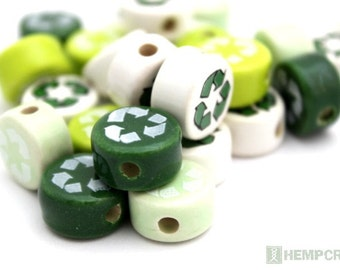 Recycle Beads, 5pc Assorted Green and White Ceramic Recycle Beads, 14mm
