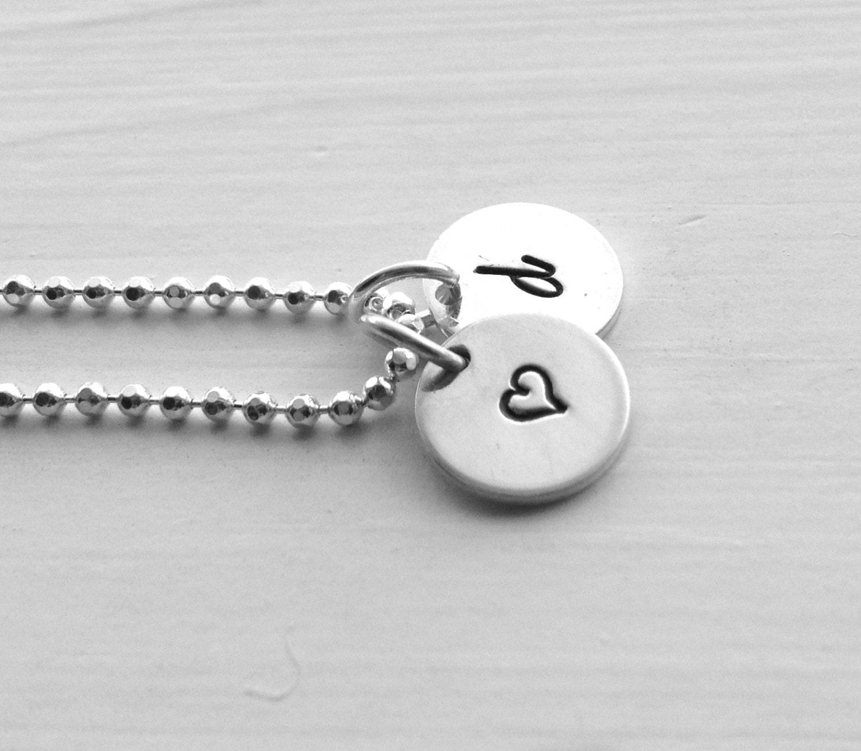 letter d necklace d initial necklace sterling silver jewelry letter d necklace heart necklace initial necklace heart hand stamped jewelry d heart
