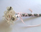 Pink and Grey Toss Bouquet Wedding Flower Girl Mini Bouquet