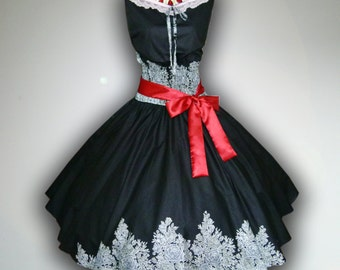 Black Winsome Roses 50s Pin up Rockabilly Swing Dress Full Swing Skirt size M-L