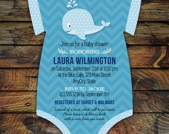 Whale Baby Shower Invitations -- 10 Bodysuit die cut printed cards in any color