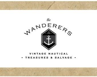 Custom Logo Design - PreDesigned Logo - PreMade Logo - Vector Logo - OOAK Logo -  WANDERER Logo Design - Anchor Logo - Vintage Nautical Logo