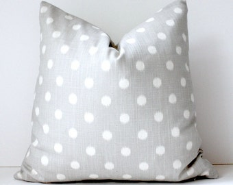 Smoke Grey cream polka dots Decorative Designer Pillow Cover 18 Accent Cushion ikat light gray smoke charcoal spots preppy circles Fall